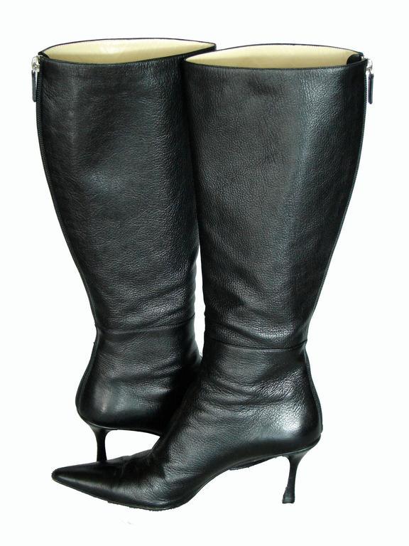 Gucci Black Kidskin Leather Knee High Boots Gomma Bali sz7.5 + Box + Dust Cover 7