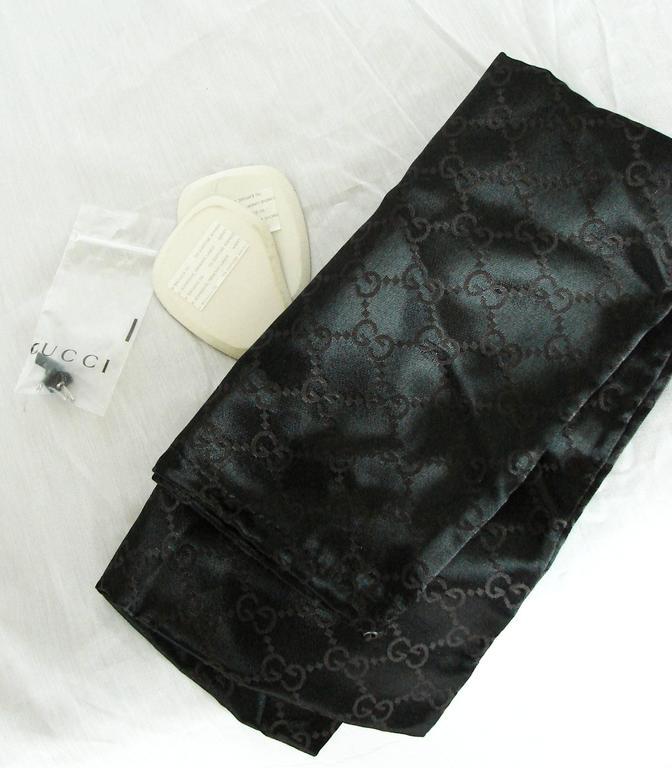 Gucci Black Kidskin Leather Knee High Boots Gomma Bali sz7.5 + Box + Dust Cover 9