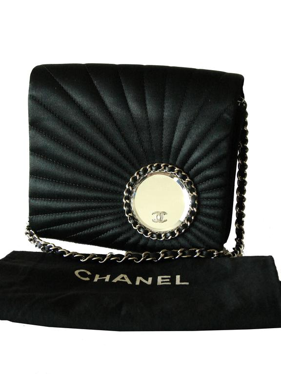 Chanel Evening Bag Black Stitched Silk Satin + Leather Chain Mirror Detail 2002 2