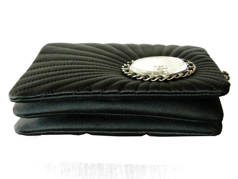 Chanel Evening Bag Black Stitched Silk Satin + Leather Chain Mirror Detail 2002 5