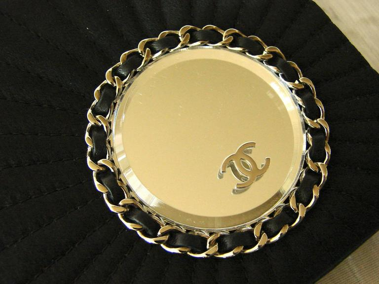 Chanel Evening Bag Black Stitched Silk Satin + Leather Chain Mirror Detail 2002 7