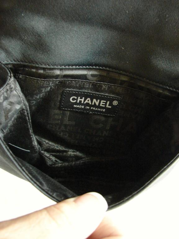 Chanel Evening Bag Black Stitched Silk Satin + Leather Chain Mirror Detail 2002 8