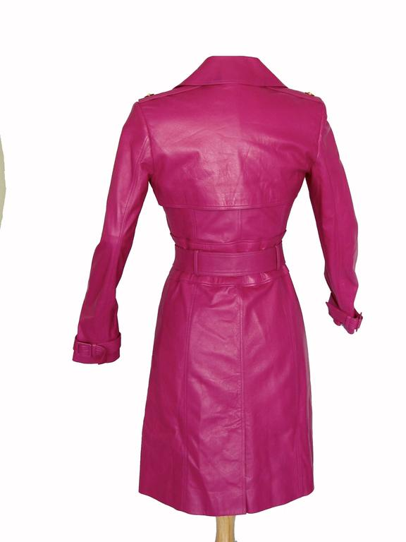 Versace Magenta Leather Coat with Belt + Medusa Buttons Trench Style Sz 40 2011 2