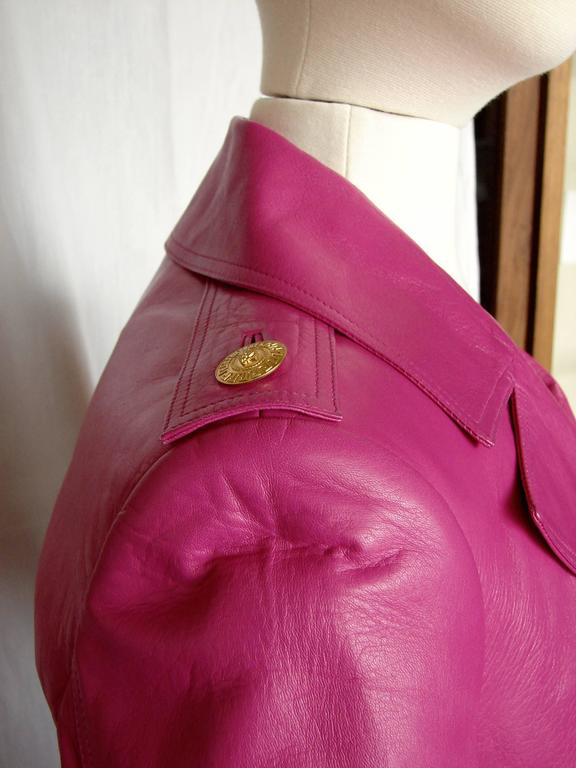 Versace Magenta Leather Coat with Belt + Medusa Buttons Trench Style Sz 40 2011 4