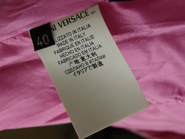 Versace Magenta Leather Coat with Belt + Medusa Buttons Trench Style Sz 40 2011 7