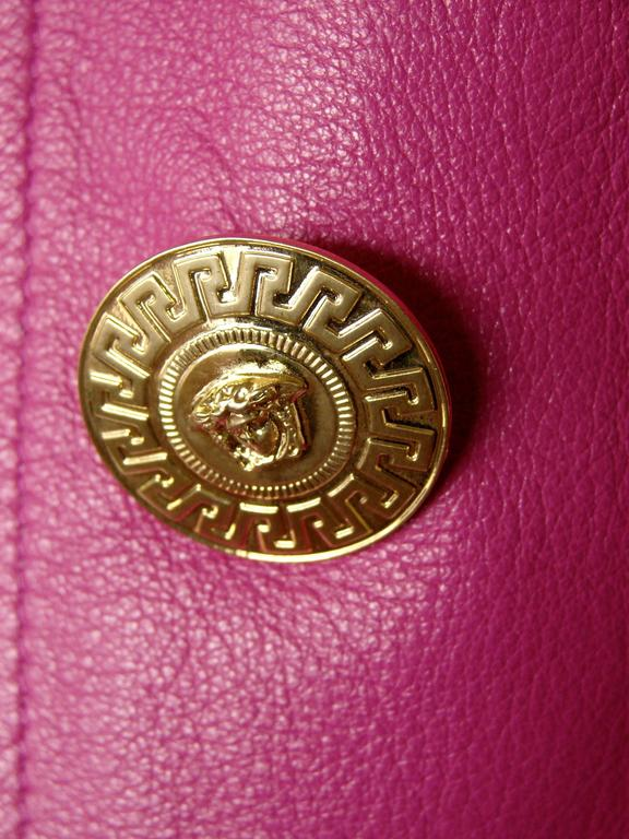 Versace Magenta Leather Coat with Belt + Medusa Buttons Trench Style Sz 40 2011 5
