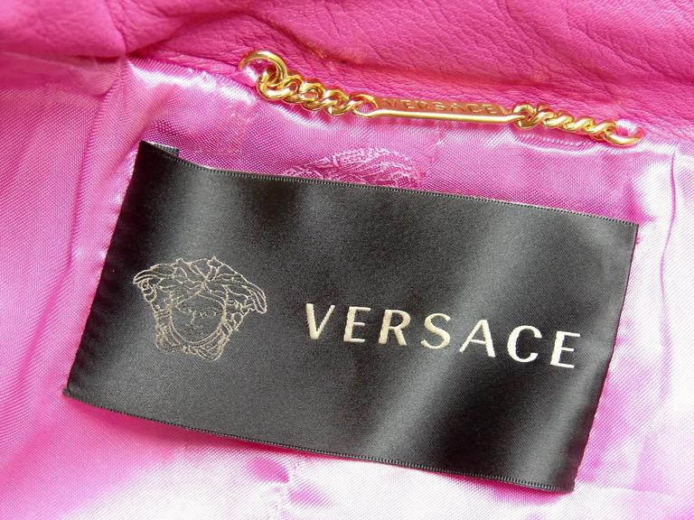 Versace Magenta Leather Coat with Belt + Medusa Buttons Trench Style Sz 40 2011 6