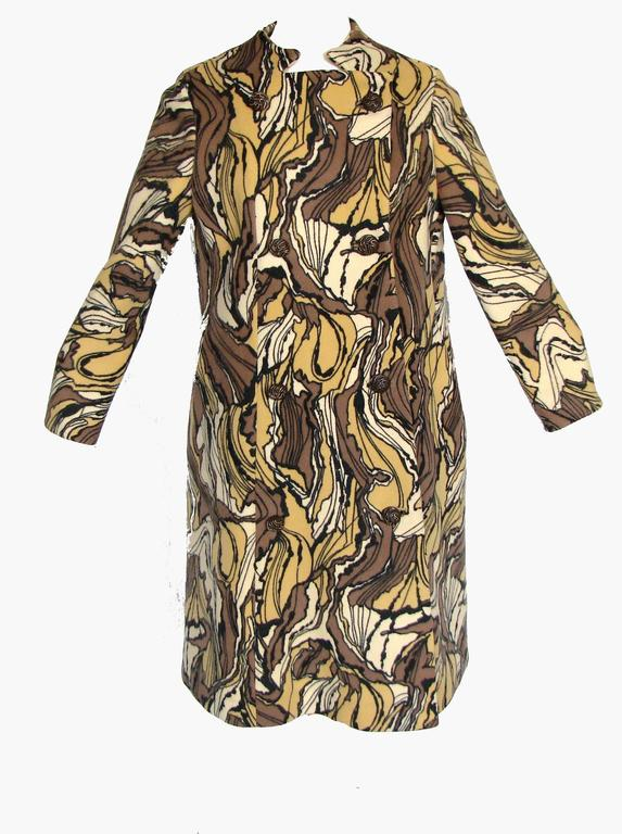 Burke-Amey Wool Couture Coat with Sculptural Collar Abstract Print 60s M Rare  3