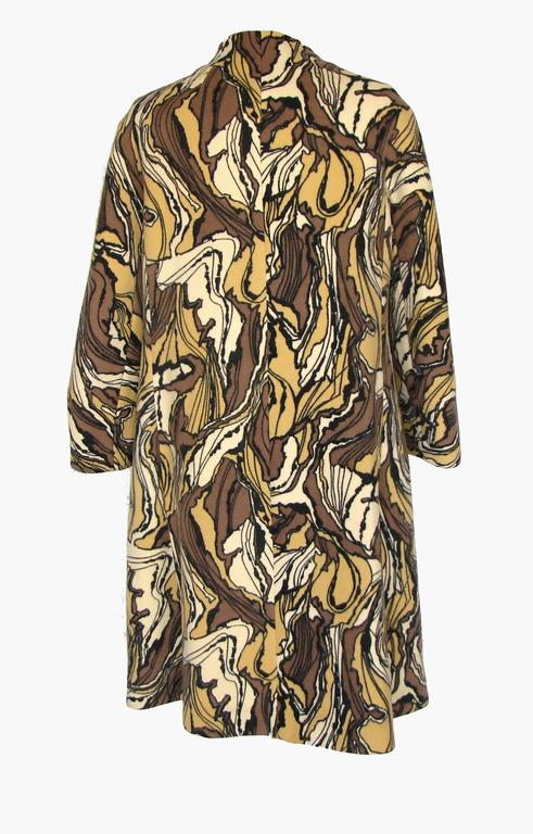 Burke-Amey Wool Couture Coat with Sculptural Collar Abstract Print 60s M Rare  5