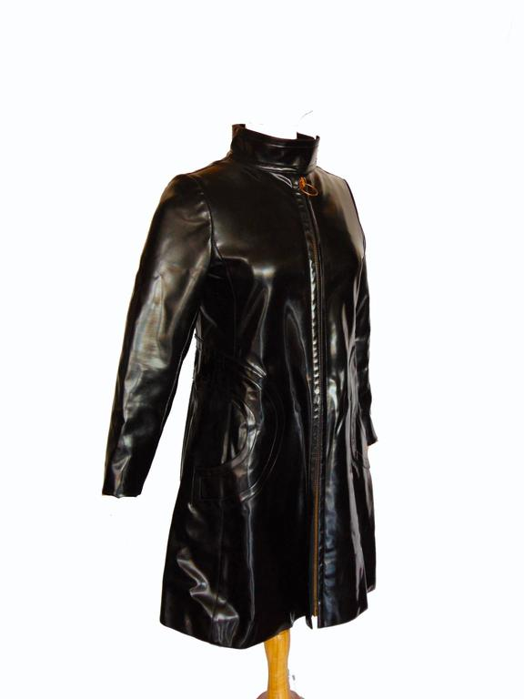 Pierre Cardin Space Age Black Vinyl Coat with Red Contrast Lining Mod 60s Sz S/M 2