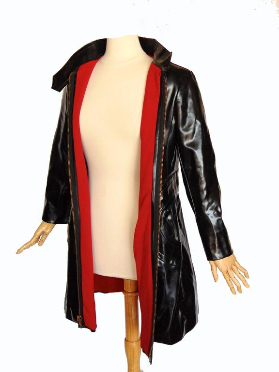 Pierre Cardin Space Age Black Vinyl Coat with Red Contrast Lining Mod 60s Sz S/M 5