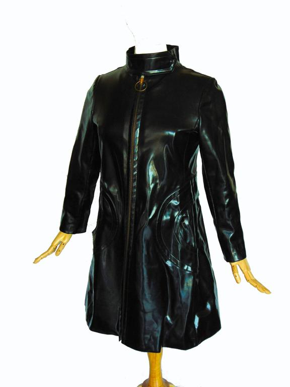 Pierre Cardin Space Age Black Vinyl Coat with Red Contrast Lining Mod 60s Sz S/M 6
