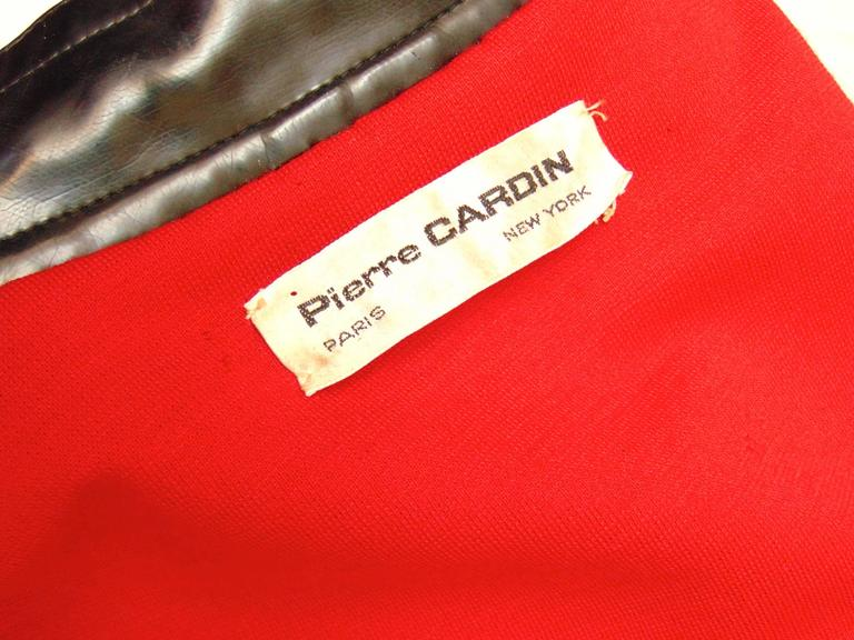 Pierre Cardin Space Age Black Vinyl Coat with Red Contrast Lining Mod 60s Sz S/M 7