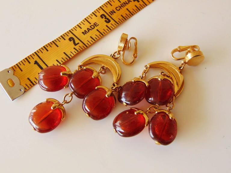 Contemporary Elegant Trifari Gold Amber Waterfall Chandelier Earrings Clip Style Late 70s For