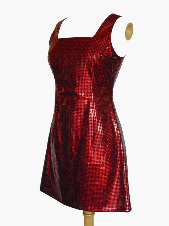 Versace Red Jumper Dress with Large Sequins Rare Size 44 1990s 2