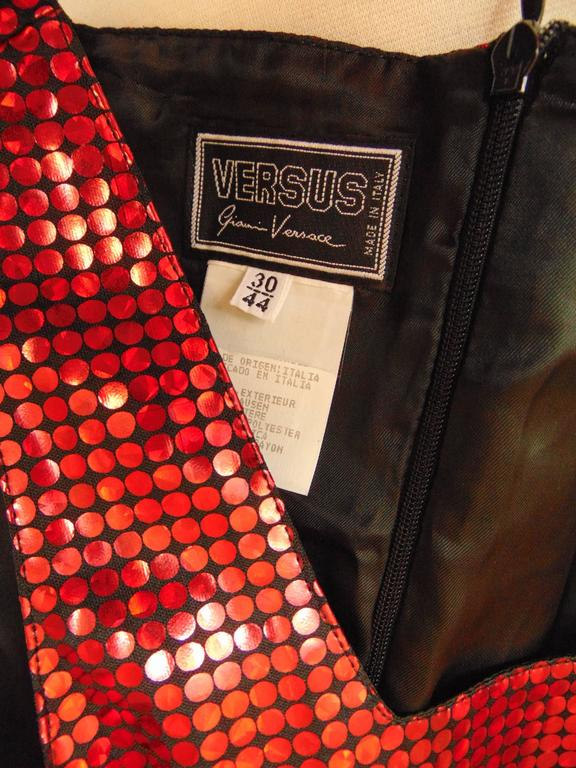 Unique Versace Brilliant Red Polka Dot Sequins Jumper Dress Size 44 1990s 7