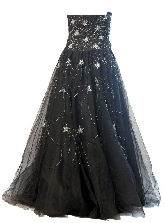 Lillie Rubin Evening Gown Strapless Black Beaded Shooting Stars Sz L ...