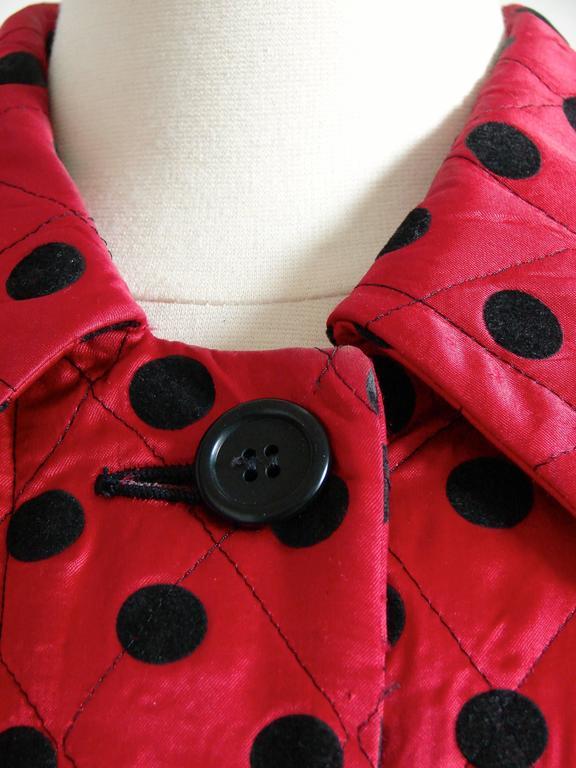 Christian Dior Polka Dot Evening Coat Voluminous Silk Satin Red Vintage Sz 10 For Sale 5