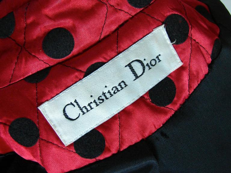 Christian Dior Polka Dot Evening Coat Voluminous Silk Satin Red Vintage Sz 10 For Sale 6