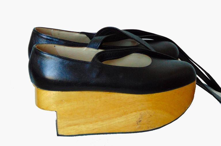 296b93a01974 Beige Vivienne Westwood Rocking Horse Shoes Black Leather Ballerina  Platforms US6 UK5 For Sale
