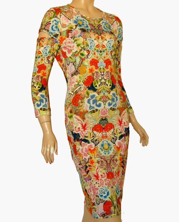 Brown Alexander McQueen Dress Floral Patchwork Slash Sleeve Bodycon Sz M Pre SS14 For Sale
