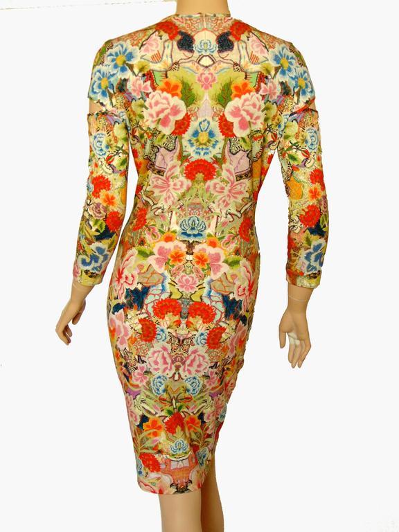 Women's Alexander McQueen Dress Floral Patchwork Slash Sleeve Bodycon Sz M Pre SS14 For Sale