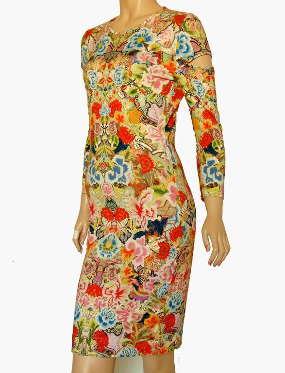 Alexander McQueen Dress Floral Patchwork Slash Sleeve Bodycon Sz M Pre SS14 In Excellent Condition For Sale In Port Saint Lucie, FL