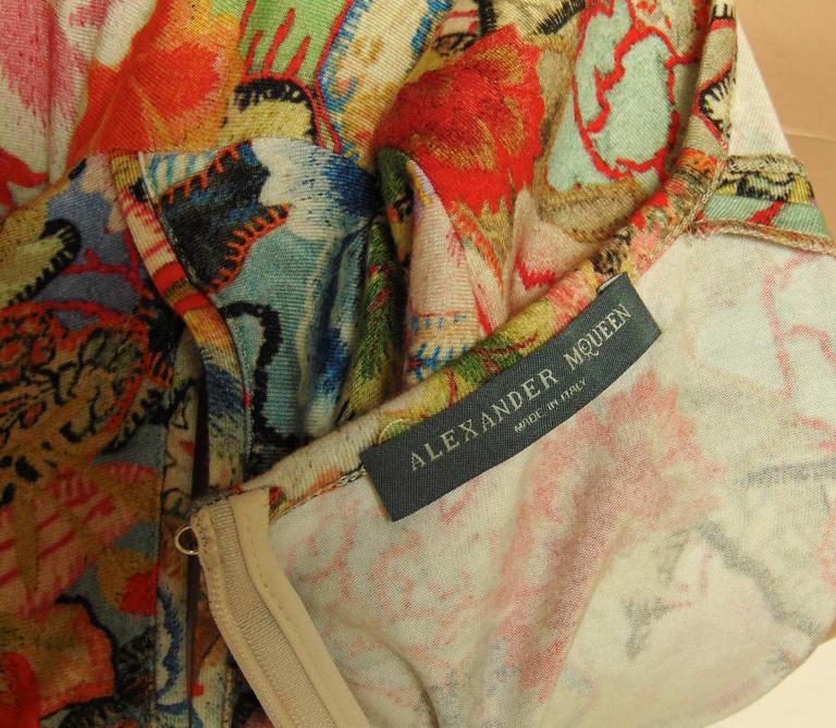 Alexander McQueen Dress Floral Patchwork Slash Sleeve Bodycon Sz M Pre SS14 For Sale 3