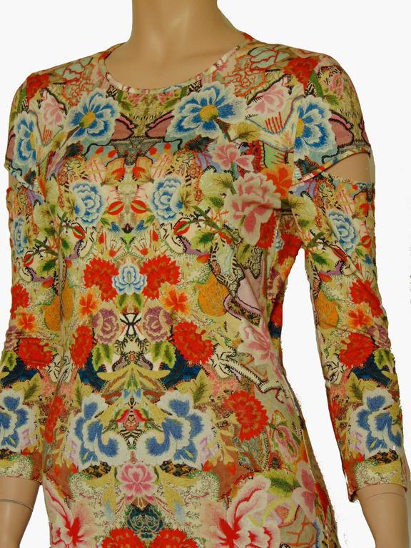 Alexander McQueen Dress Floral Patchwork Slash Sleeve Bodycon Sz M Pre SS14 For Sale 2