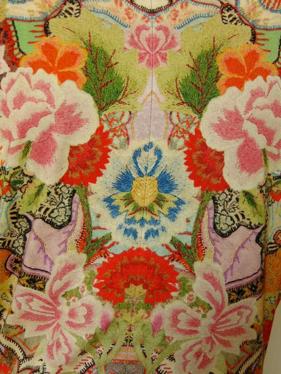 Alexander McQueen Dress Floral Patchwork Slash Sleeve Bodycon Sz M Pre SS14 For Sale 1