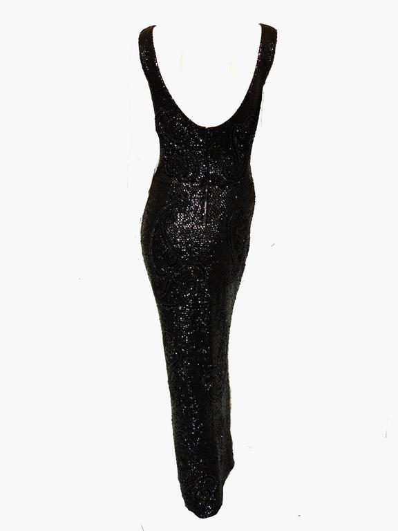 Rare Gene Shelly Boutique Black Beaded Evening Gown with Sequins 60s M In Good Condition For Sale In Port Saint Lucie, FL