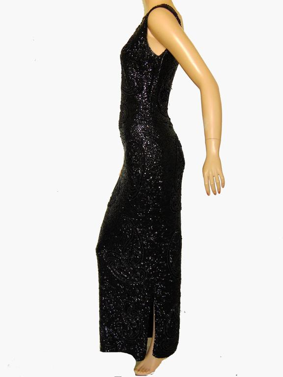 Rare Gene Shelly Boutique Black Beaded Evening Gown with Sequins 60s M For Sale 1