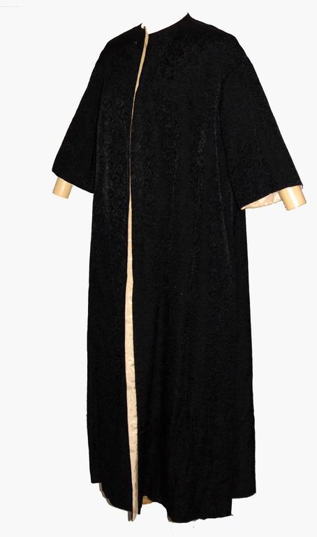 Exquisite Brocade Opera Coat Black Cream Reversible