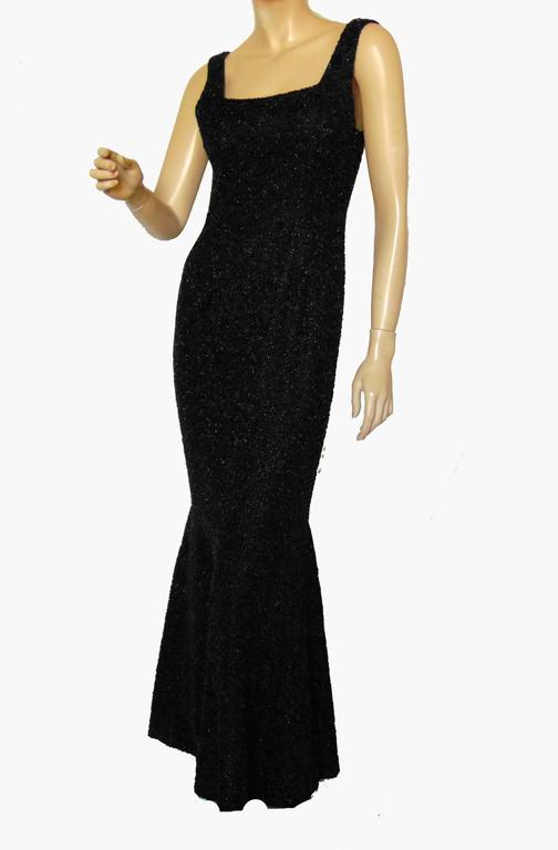 6b6892ed6f59 Rare Mermaid Evening Gown Fishtail Hem Black Beaded Brocade 1960s Sz S For  Sale. This fabulous evening gown was likely made in the 1960s and is made  from a ...