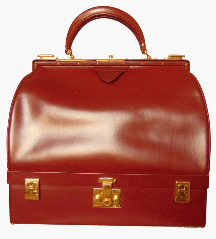 Red Hermes Sac Mallette Jewelry Box Travel Case Cordovan Box Leather Vintage 1970s For Sale
