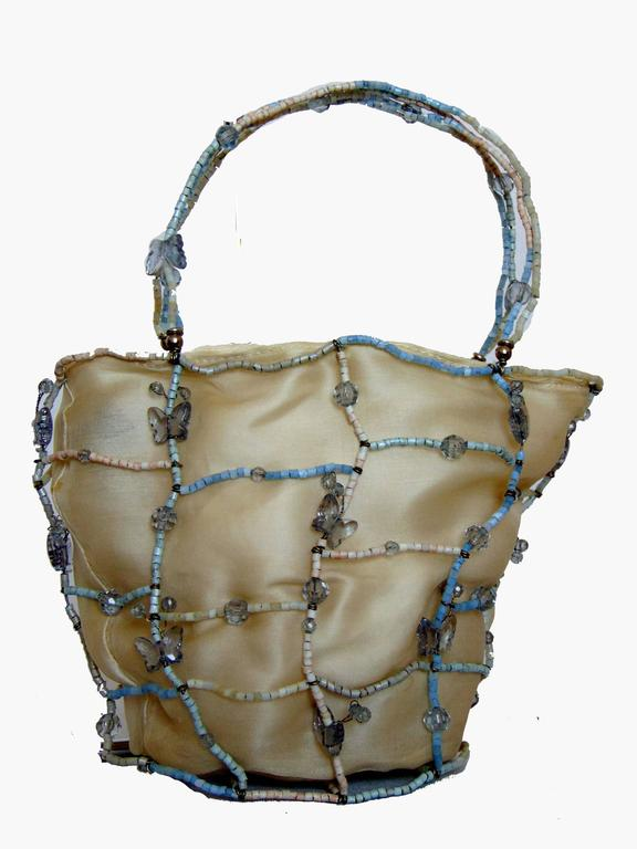 Rare Bottega Veneta Silk Evening Bag with Beaded Wire Frame + Butterflies In Excellent Condition For Sale In Port Saint Lucie, FL