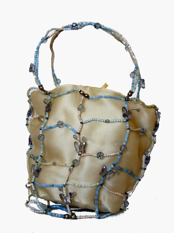 Beige Rare Bottega Veneta Silk Evening Bag with Beaded Wire Frame + Butterflies For Sale