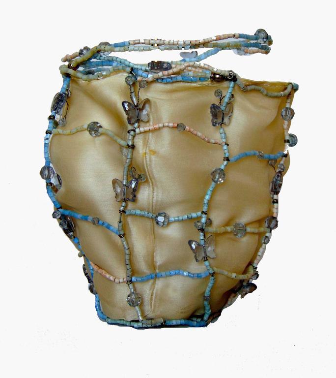 Women's Rare Bottega Veneta Silk Evening Bag with Beaded Wire Frame + Butterflies For Sale