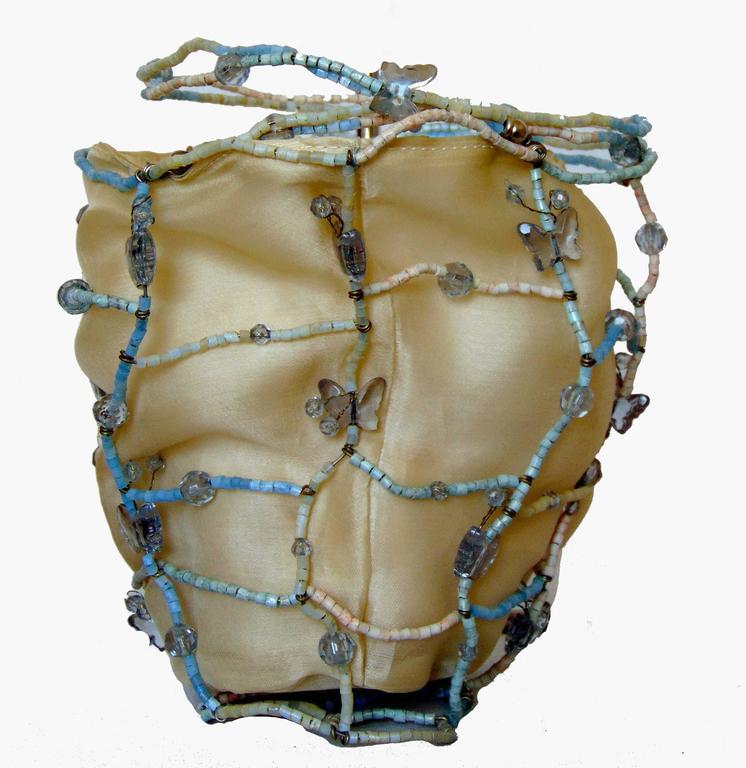 Rare Bottega Veneta Silk Evening Bag with Beaded Wire Frame + Butterflies For Sale 1