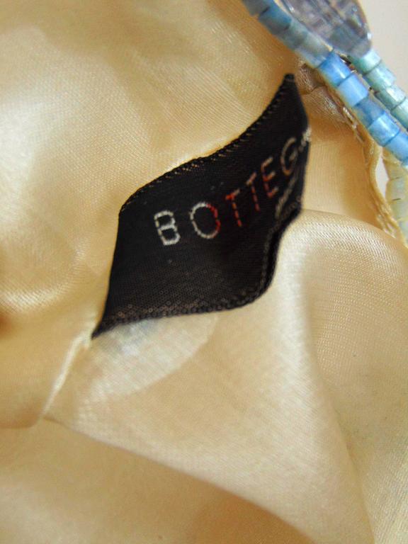 Rare Bottega Veneta Silk Evening Bag with Beaded Wire Frame + Butterflies For Sale 4