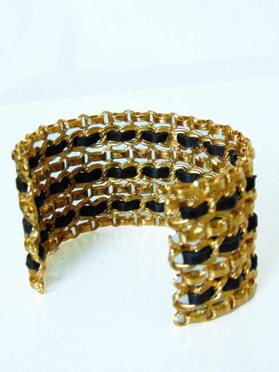 Women's Chanel Gold Chain + Black Leather Wide Cuff Bracelet with Box Vintage 1980s  For Sale