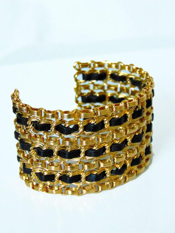 Chanel Gold Chain + Black Leather Wide Cuff Bracelet with Box Vintage 1980s  In Excellent Condition For Sale In Port Saint Lucie, FL