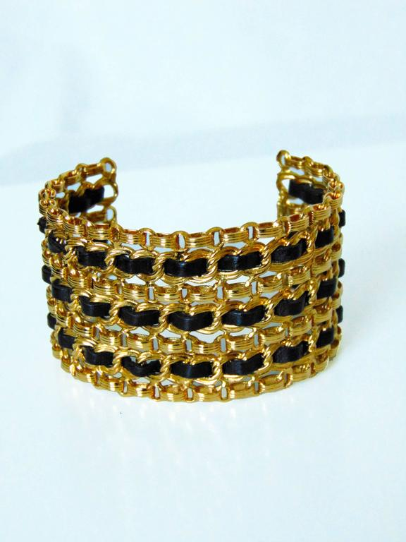Contemporary Chanel Gold Chain + Black Leather Wide Cuff Bracelet with Box Vintage 1980s  For Sale