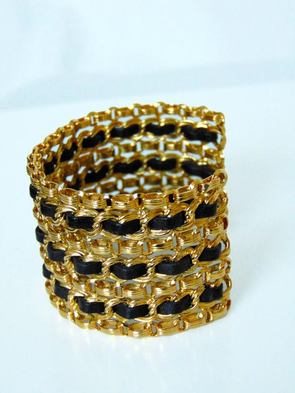 Chanel Gold Chain + Black Leather Wide Cuff Bracelet with Box Vintage 1980s  For Sale 1