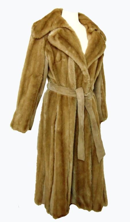Chic Lilli Ann Full Length Belted Faux Blond Mink Fur + Suede Coat 1960s Sz16 3
