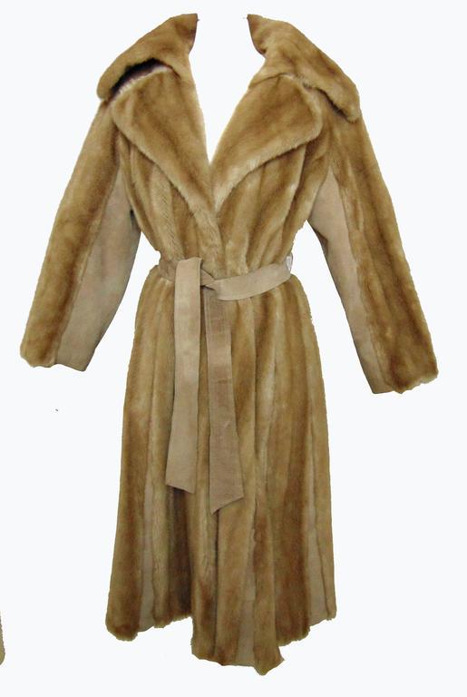 Chic Lilli Ann Full Length Belted Faux Blond Mink Fur + Suede Coat 1960s Sz16 5