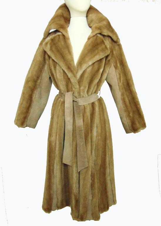 Chic Lilli Ann Full Length Belted Faux Blond Mink Fur + Suede Coat 1960s Sz16 2