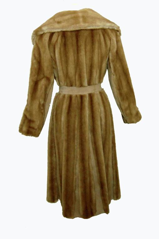 Chic Lilli Ann Full Length Belted Faux Blond Mink Fur + Suede Coat 1960s Sz16 7