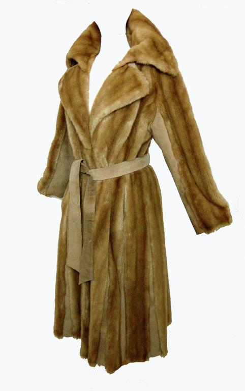 Chic Lilli Ann Full Length Belted Faux Blond Mink Fur + Suede Coat 1960s Sz16 6