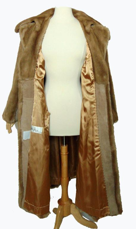 Chic Lilli Ann Full Length Belted Faux Blond Mink Fur + Suede Coat 1960s Sz16 8